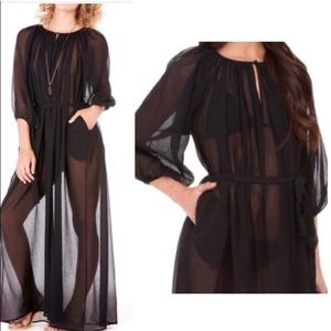 MARYSIA SWIM Anthro Silk Black Cover Up Dress M